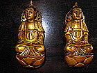 Rare gilt-lacquered wood figures of Bodhisatva