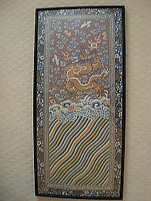 LARGE ANTIQUE SILK & GILT EMBROIDERY