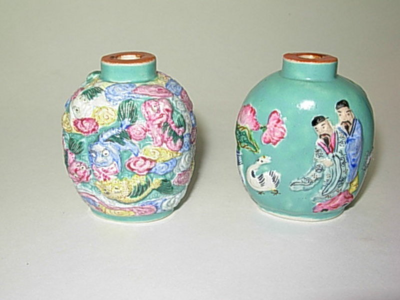 Two Beautiful 19thC Chinese Porcelain Snuff Bottles