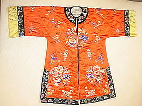 Early 20th C. Chinese Red Silk Lady's Robe Embroidery