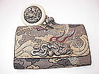 19th C. Japanese Tobacco Pouch with Ivory Netsuke