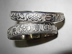 Two Beautiful Chinese Sterling Silver Bangles