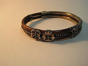 A 19th C. Chinese Sterling Silver  Rattan Bangle