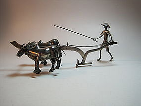 Asian Chinese Sterling Silver Water Buffalo