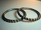 A Pair of Early 20th C. Chinese Sterling Silver Bangles