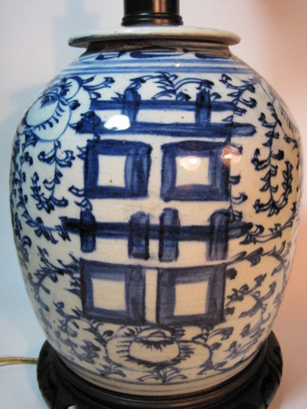 18/19th C. Chinese Porcelain Blue and White Lamp