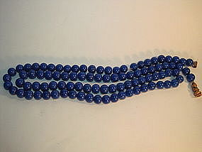 19th C. Chinese Cobalt Blue Peking Glass Rosary Beads