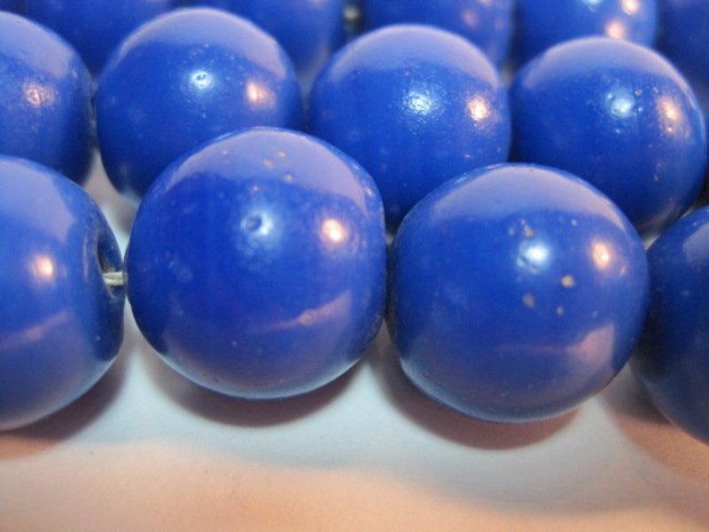 19th C. Chinese Cobalt Blue Peking Glass Rosary Beads