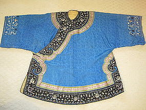 19th C. Chinese Blue Silk Embroidery Lady's Robe
