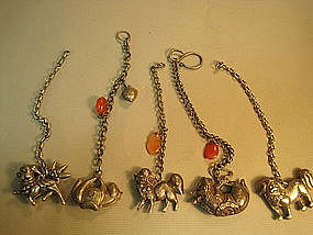 Five Pieces Chinese Old Sterling Silver Pendant