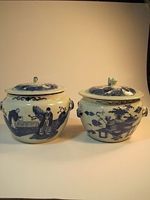 A Pair of 19th C. Blue & White Chinese Porcelain Jars