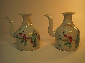 A Pair of 19th C. Chinese Famille Rose Porcelain  Pots
