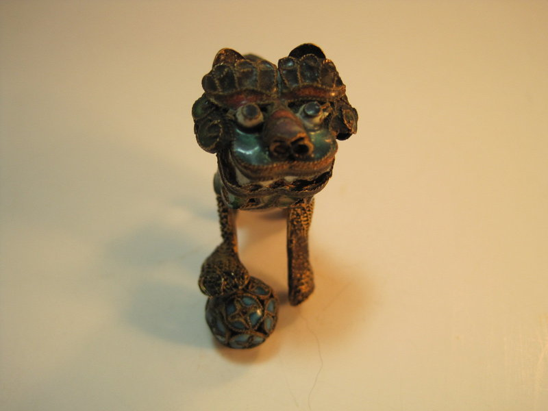 A Beautiful small 19th C. Chinese Filigree Silver Lion