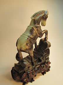 Beautiful Early 20th C. Chinese Celadon Jade Horse