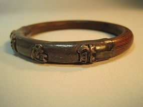 19th C. Chinese Sterling Silver and Rattan Bangle