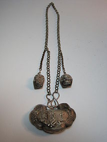 A Beautiful 19th C. Chinese Silver Lock with Chain