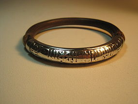 Early 20th C. Chinese Silver and Rattan Bangle