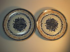 A Pair of Chinese Blue and White Export Porcelain plate