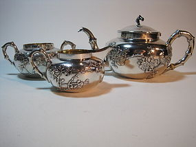 A Beautiful 19th C. Chinese Silver Teapot set
