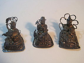 A Group of 3 19th C. Chinese Silver Figurines