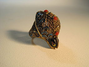 An Early 20th C. Chinese Filigree Silver Enamel Ring