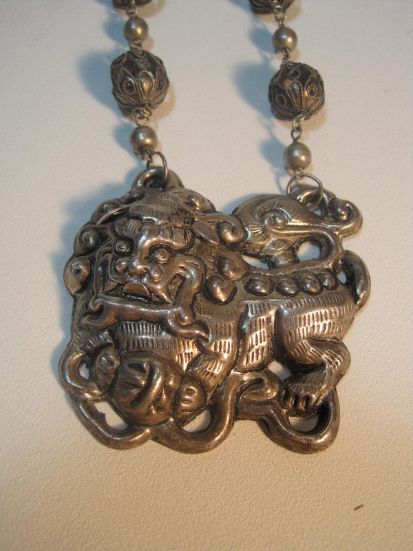 Beautiful Late 19th C. Chinese Silver Foodog Pendant