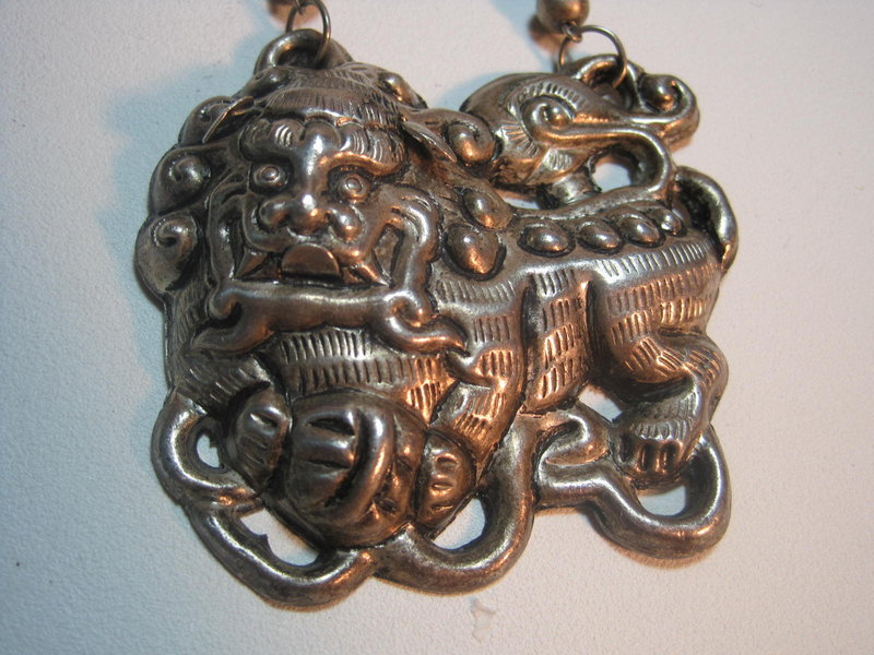 Beautiful Late 19th C. Chinese Silver Foodog Pendant
