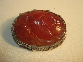 A Beautiful Vintage Chinese Silver Carnelian Brooch