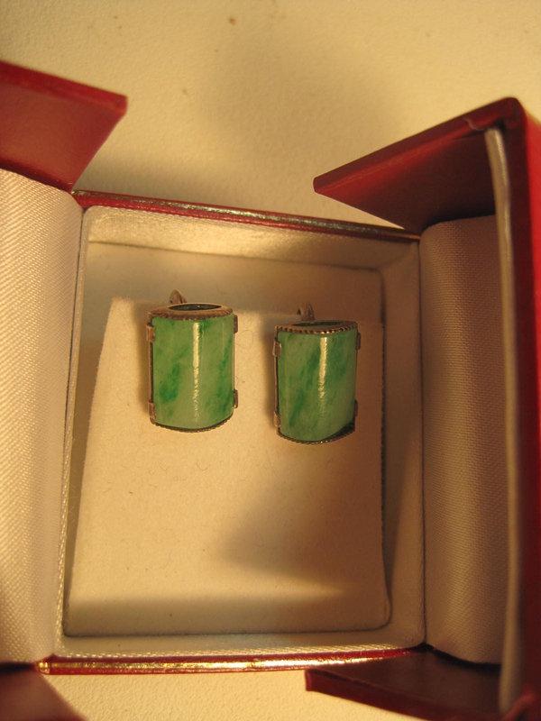 Beautiful Vintage Chinese Silver Jade Earrings