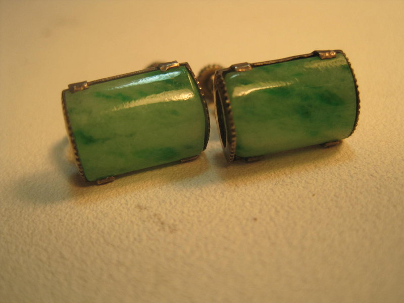 Beautiful Vintage Chinese Silver Jade Earrings
