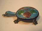 Chinese Old Silver Enamel Turtle Pendant
