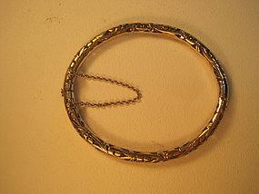 20th C. Asian Thai Silver / Gold Wash Bangle