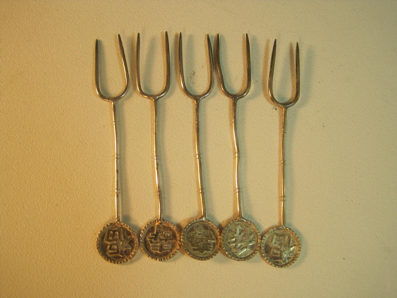 Early 20th C. Chinese Silver Spoons and Forks