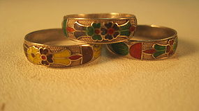 Early 20th C. Chinese Enamel Silver Ring