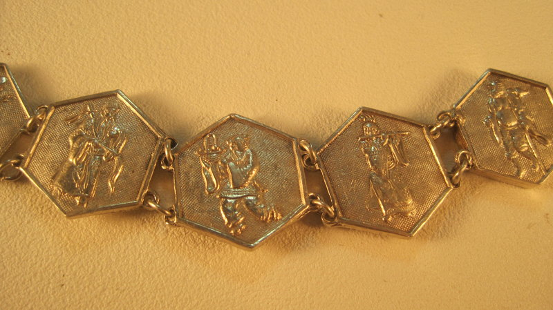 Early 20th C. Chinese Silver Bracelet With 8 Immortals