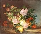 French School Floral Still Life, J. Bell, 1877