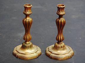 Pair of Louis XV Ormolu Candlesticks 18th/E19thC