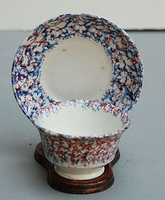 Spatterware Cup and Saucer, England 2nd Q 19th C.