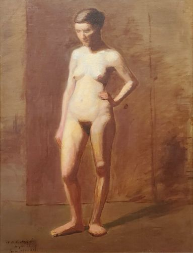 Academic Nude Signed by William H. C. Sheppard and Dated 1890-91