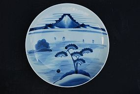Japanese Porcelain Blue and White  Dish, late 18th C
