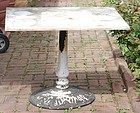 Marble Top Garden Table with Cast Iron Base