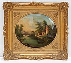 French School Reverse Painting on Glass, ca. 1860