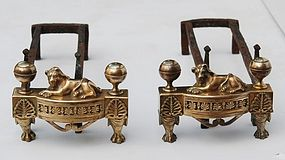 Pair of Louis XVI-Style Bronze Chenets, 19th C