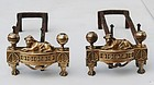 Pair of 19th Century Louis XVI Style Bronze Chenets