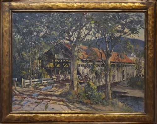 Landscape Painting of a Covered Bridge signed by Earl A. Titus ca 1937