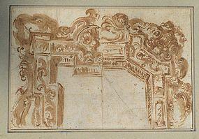 Italian School Architectural Drawing, 17th