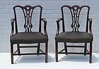 Pair George III-Style Mahogany Armchairs