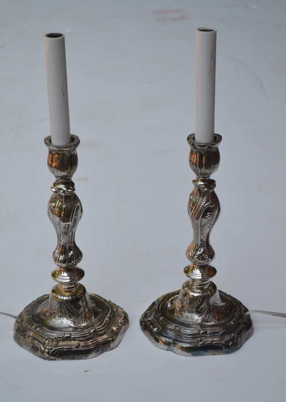 Pair of Louis-XV-Style Silver-Plated Candlestick Lamps