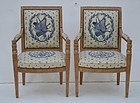 Pair of Carved French Empire-Style Armchairs, 20thC
