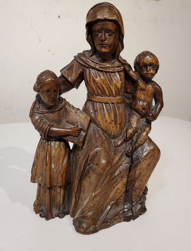 17th C Italian Carved Wood Carving Of Virgin and Child with Saint Anne